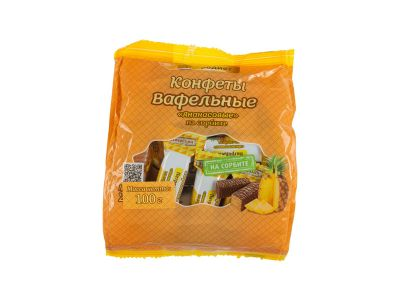 Конфеты вафельные на сорбите с ароматом ананаса 100 гр /Диетпром