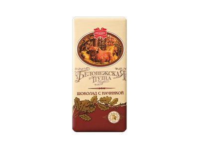 """Шоколад горький десертный с начинкой """"Беловежская пуща"""" 55% 100гр"""