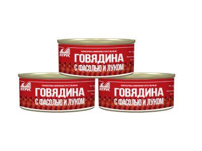 Говядина с фасолью и луком 0,325 гр.