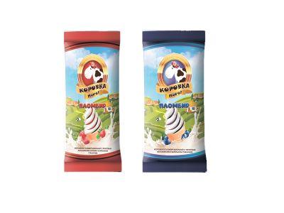 """Мороженое """"Коровка МУУ-у"""" пломбир ванильный в бумажном стаканчике с фрктовым наполнителем 12% 80 гр"""